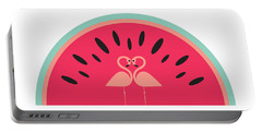 Flamingo Watermelon Portable Battery Charger by Susan Claire