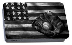 Folk Art American Flag And Baseball Mitt Black And White Portable Battery Charger by Garry Gay