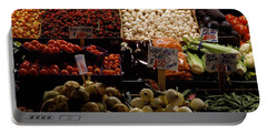 Fruits And Vegetables At A Market Portable Battery Charger by Panoramic Images
