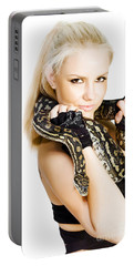 Gorgeous Blonde Snake Handler Portable Battery Charger by Jorgo Photography - Wall Art Gallery