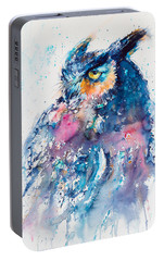 Great Horned Owl Portable Battery Charger by Kovacs Anna Brigitta