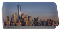 Lower Manhattan Skyline Portable Battery Charger by Susan Candelario