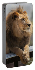 Majestic Lion Portable Battery Charger by Sharon Foster