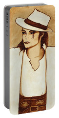 Michael Jackson Original Coffee Painting Portable Battery Charger by Georgeta  Blanaru