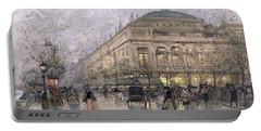Parisian Street Scene Portable Battery Charger by Eugene Galien-Laloue