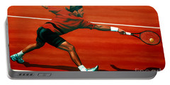 Roger Federer At Roland Garros Portable Battery Charger by Paul Meijering