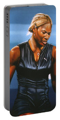 Serena Williams Portable Battery Charger by Paul Meijering