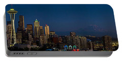 Skyscrapers In A City, Space Needle Portable Battery Charger by Panoramic Images