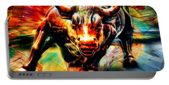 Wall Street Bull Portable Battery Charger by Marvin Blaine