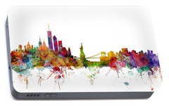 New York Skyline Portable Battery Charger by Michael Tompsett