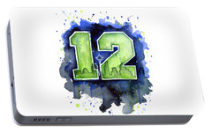 12th Man Seahawks Art Seattle Go Hawks Portable Battery Charger by Olga Shvartsur