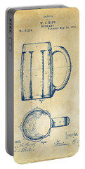 1876 Beer Mug Patent Artwork - Vintage Portable Battery Charger by Nikki Marie Smith
