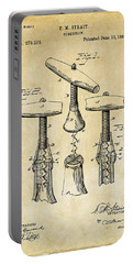 1883 Wine Corckscrew Patent Art - Vintage Black Portable Battery Charger by Nikki Marie Smith