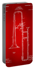 1902 Slide Trombone Patent Artwork Red Portable Battery Charger by Nikki Marie Smith