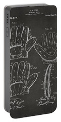 1910 Baseball Glove Patent Artwork - Gray Portable Battery Charger by Nikki Marie Smith