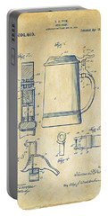 1914 Beer Stein Patent Artwork - Vintage Portable Battery Charger by Nikki Marie Smith