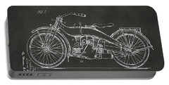 1924 Harley Motorcycle Patent Artwork - Gray Portable Battery Charger by Nikki Marie Smith