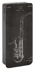 1937 Saxophone Patent Artwork - Gray Portable Battery Charger by Nikki Marie Smith