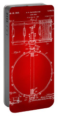 1939 Snare Drum Patent Red Portable Battery Charger by Nikki Marie Smith