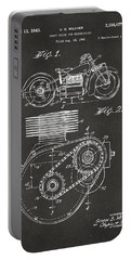 1941 Indian Motorcycle Patent Artwork - Gray Portable Battery Charger by Nikki Marie Smith