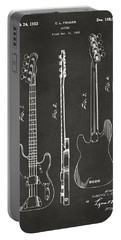 1953 Fender Bass Guitar Patent Artwork - Gray Portable Battery Charger by Nikki Marie Smith