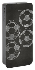 1964 Soccerball Patent Artwork - Gray Portable Battery Charger by Nikki Marie Smith