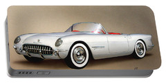 1953 Corvette Classic Vintage Sports Car Automotive Art Portable Battery Charger by John Samsen