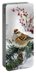 Christmas Sparrow Portable Battery Charger by Christina Rollo