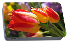 Bowing Tulips Portable Battery Charger by Rona Black