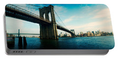 Bridge Across A River, Brooklyn Bridge Portable Battery Charger by Panoramic Images