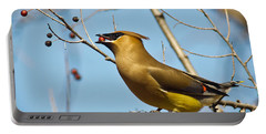 Cedar Waxwing With Berry Portable Battery Charger by Robert Frederick
