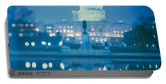 Government Building Lit Up At Night Portable Battery Charger by Panoramic Images