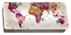 Map Of The World Portable Battery Charger by Mark Ashkenazi