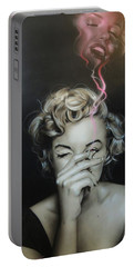 Marilyn Monroe - ' Marilyn's Crimson Haze ' Portable Battery Charger by Christian Chapman Art