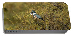 Belted Kingfisher With Fish Portable Battery Charger by Anthony Mercieca