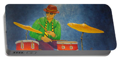 Jazz Drummer Portable Battery Charger by Pamela Allegretto