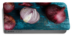 Red Onions Portable Battery Charger by Nailia Schwarz