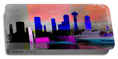 Seattle Skyline Watercolor Portable Battery Charger by Marvin Blaine