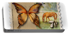 7 Cent Butterfly Stamp Portable Battery Charger by Amy Kirkpatrick