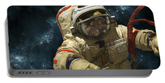 A Cosmonaut Against A Background Portable Battery Charger by Marc Ward