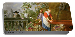 A Maid Washing Carrots At A Fountain Portable Battery Charger by Nicolaas or Nicolaes Muys