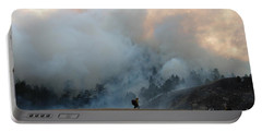 Portable Battery Charger featuring the photograph A Solitary Firefighter On The White Draw Fire by Bill Gabbert