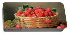 A Still Life Of Raspberries In A Wicker Basket  Portable Battery Charger by William B Hough
