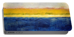 Abstract Dunes With Blue And Gold Portable Battery Charger by Michelle Calkins