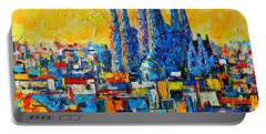 Abstract Sunset Over Sagrada Familia In Barcelona Portable Battery Charger by Ana Maria Edulescu