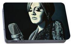 Adele Skyfall Painting Portable Battery Charger by Paul Meijering