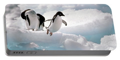 Adelie Penguins Portable Battery Charger by Art Wolfe