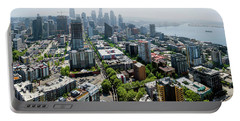 Aerial View Of A City, Seattle, King Portable Battery Charger by Panoramic Images