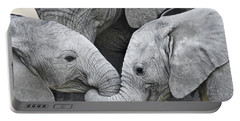 African Elephant Calves Loxodonta Portable Battery Charger by Panoramic Images