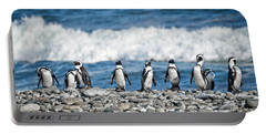 Line Of Pingouins Portable Battery Charger by Delphimages Photo Creations